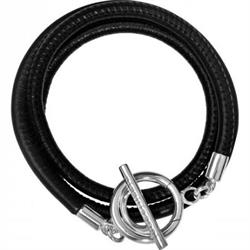 Black and Silver Leather Wrap Bracelet 19cm