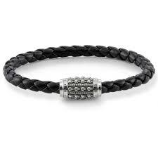 Black Leather Skulls Bracelet 19cm by Thomas Sabo
