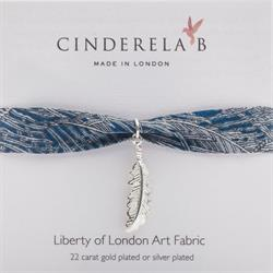 Blue Liberty Print Wrap Bracelet with Silver Feather