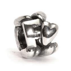 Letter F Silver Charm Bead