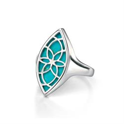 Buy Fiorelli Silver & Turquoise Cut Out Ring Size 52