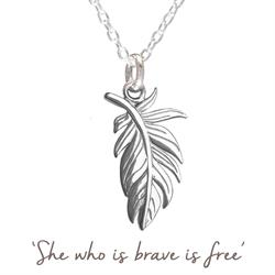 Mantra Large Feather Necklace in Silver
