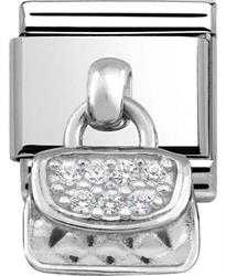 Silver Hanging Handbag Charm with CZ Embellishment