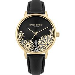 Laura Yellow Gold Black Flower Leather Watch