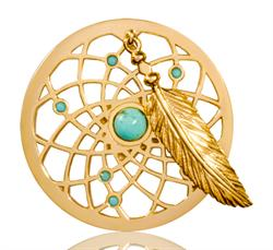 Turquoise Dreamcatcher Dangle 33mm Gold Coin