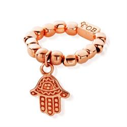 Rose Gold Hamsa Hand Ring Size Small