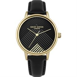 Gold Black Leather Jade Stripe Watch