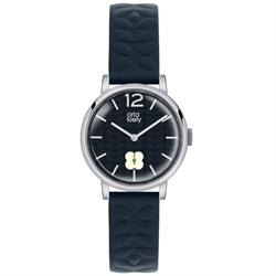 Orla Kiely Frankie Leather Watch, Navy Blue and White