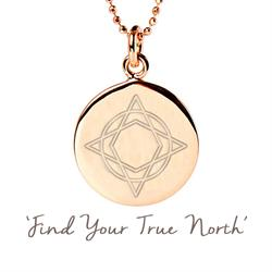 Wanderlust True North Disc Necklace in Rose Gold