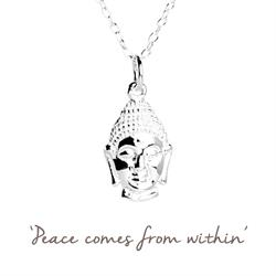 Buddha Mantra Necklace in Silver