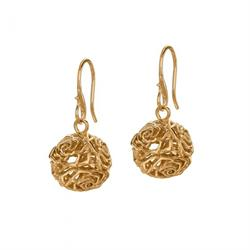 18ct Gold Vermeil Wild Rose Sphere Drop Earrings