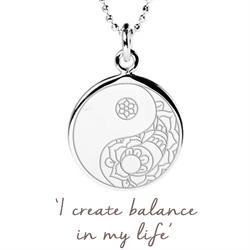 Balance Yin Yang Disc Necklace in Sterling Silver