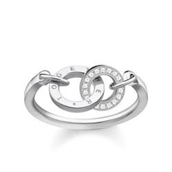 Together Forever Silver & CZ Circles Ring Size 54