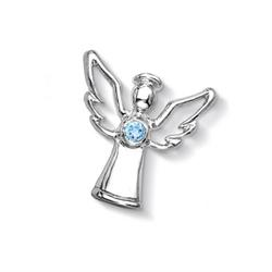 Silver Blue Topaz Guardian Angel Treasure
