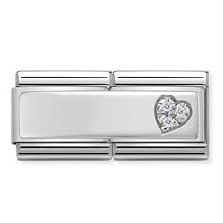 Nomination Silver CZ Heart Double Charm