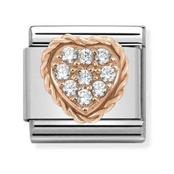 Rose Gold Curbic Zirconia Heart Charm