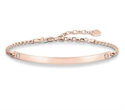 Rose Gold Heart Engravable Bracelet 18.5cm