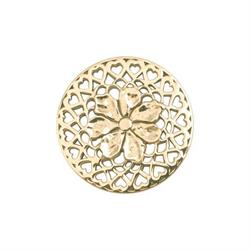 Yellow Gold Flower With Love Coin 33mm