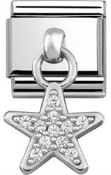 Silver Hanging Star Charm with CZ Embellishment
