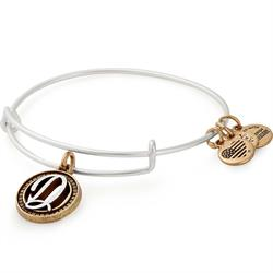 D Initial Two-Tone Bangle