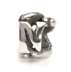 Letter N Silver Charm Bead