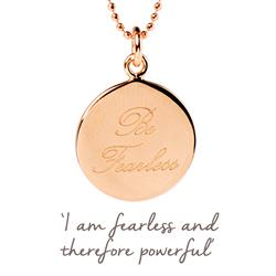 Be Fearless Mantra Necklace in Rose Gold