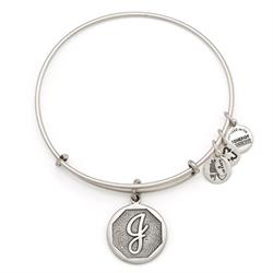 J Initial Bangle in Rafaelian Silver