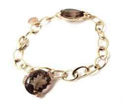 SALE - Famosi Bracelet 18ct yellow gold 0.08ct diamonds Smokey quartz