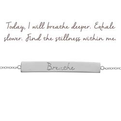 Mantra Breathe Bar Bracelet in Silver