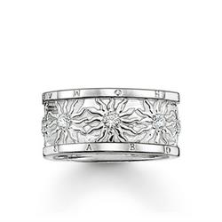 Silver CZ Sun Band Ring 52
