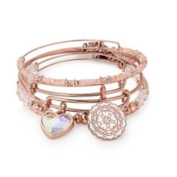 Alex and Ani Paper Hearts Set of 4 Bangles in Shiny Rose Gold