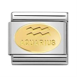 Gold Aquarius Oval Zodiac Charm