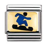 Blue Snowboarder Sports Charm