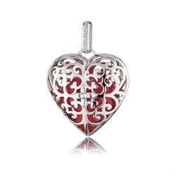 Angel Whisperer Heart Pendant, Silver