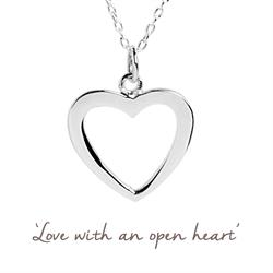 Open Heart Mantra Necklace in Silver