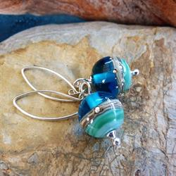 Beach Art Glass Deep Blue Sea Round Drop Earrings