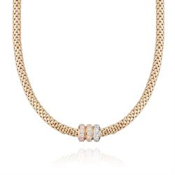Gold Popcorn Necklace CZ Clasp