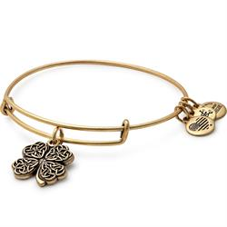 Four Leaf Clover Disc bangle in Rafaelian Gold Finish