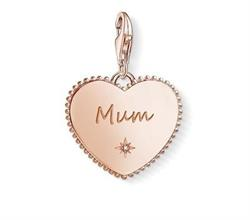 Rose Gold CZ Mum in Heart Charm