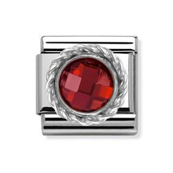 Buy Nomination Silver Red Round CZ