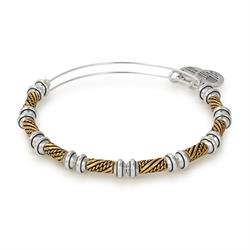 Alex and Ani Quill Beaded Bangle in Rafaelian Gold and Silver Finish