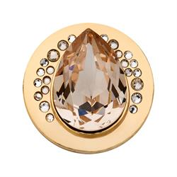 Gold Swarovski Teardrop Coin 33mm