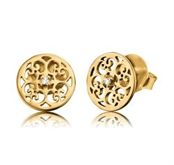 Filigree Stud CZ Earrings in Gold