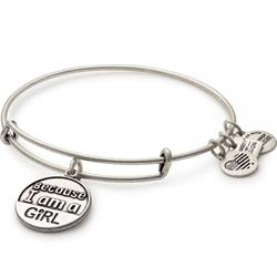 Buy Alex and Ani Because I Am A Girl Bangle in Rafaelian Silver