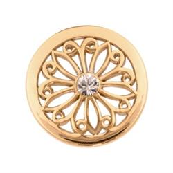 Gold Oriental Flower Small Coin 23mm