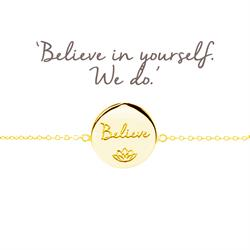 Believe Disc Bracelet in Gold