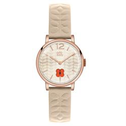 Frankie Leather Watch, Cream and Rose