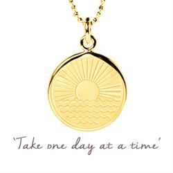 Buy Mantra One Day at a Time Sunrise Necklace in Yellow Gold