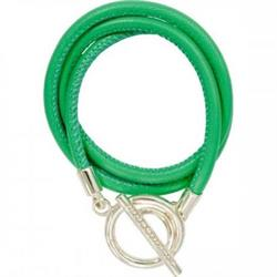Green and Silver Leather Wrap Bracelet 19cm