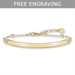 Yellow Gold Bead Engravable Bracelet 18cm